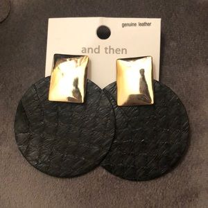 NWT Black Leather & Gold Toned Drop Earrings